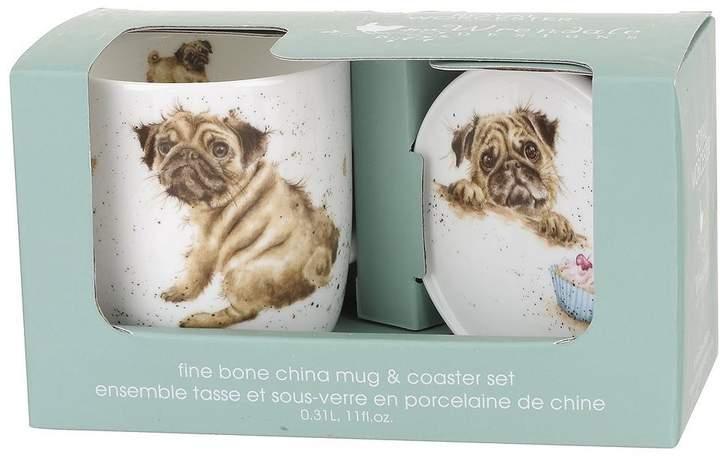Wrendale Pug Love Mug And Coaster Set