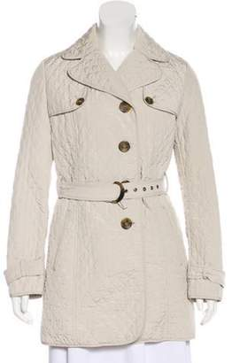 Max Mara Quilted Button-Up Jacket Grey Quilted Button-Up Jacket