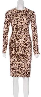 Givenchy Leopard-Print Long Sleeve Sheath Dress