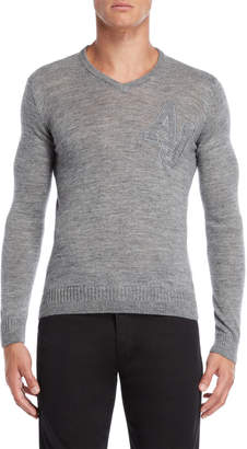 Armani Jeans Grey Slim Fit V-Neck Pullover Sweater
