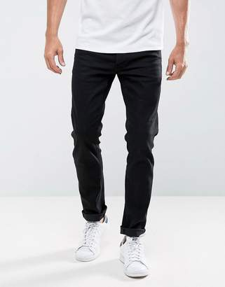 Solid Slim Fit Jeans In Black With Stretch
