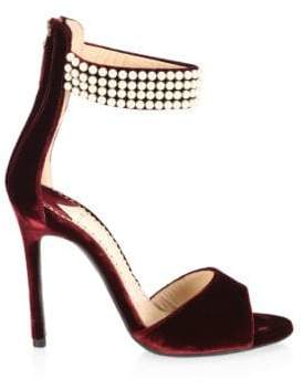 Louis Leeman Embellished Open Toe Velvet Sandals