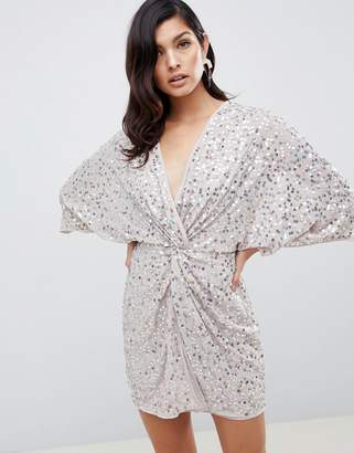 Asos Design DESIGN scatter sequin knot front kimono mini dress