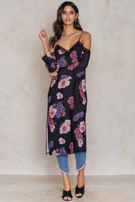 Tranloev Cold Shoulder Midi Slip Dress Dusty Roses