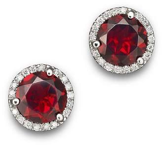 Bloomingdale's Garnet and Diamond Halo Stud Earrings in 14K White Gold - 100% Exclusive