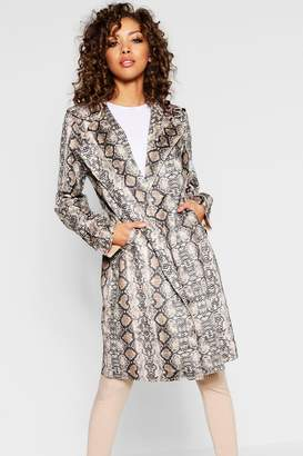 boohoo Snake Suedette Trench Coat