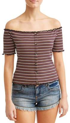 Eye Candy Juniors' Striped Button Front Off the Shoulder Rib Knit Top
