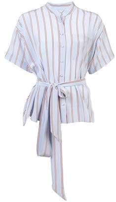 Frame Striped Belted Collarless Shirt