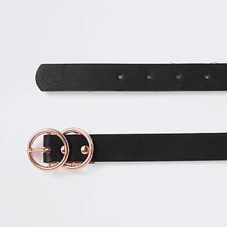 River Island Black rose gold tone double ring mini belt
