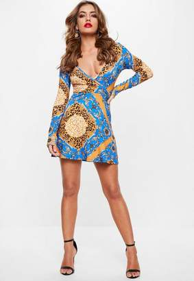 Missguided Blue Chain Animal Print Long Sleeve Wrap Skater Dress