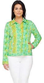 Isaac Mizrahi Live! Colorful Snake PrintedKnit Jacket