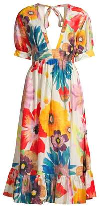 Carolina K. Greta Floral A-Line Midi Dress