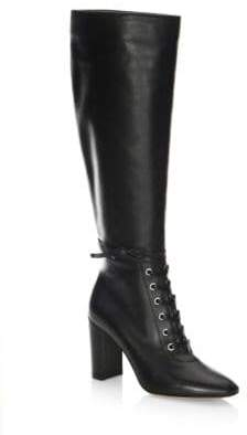Gianvito Rossi Lace-Up Leather Knee-High Boots