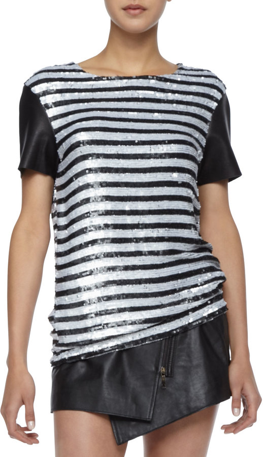 Rachel Zoe Nichols Striped Sequined Top