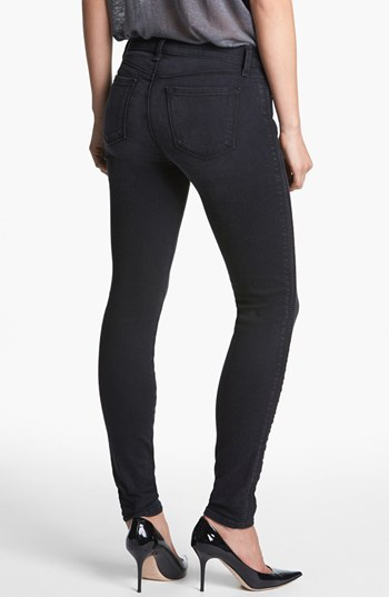 J Brand '8072 The Liberty' Side Pleat Skinny Jeans (Graphite)