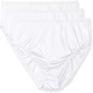 Shadowline Women's Plus Size Panties-Hi Cut Nylon Brief (3 Pack)