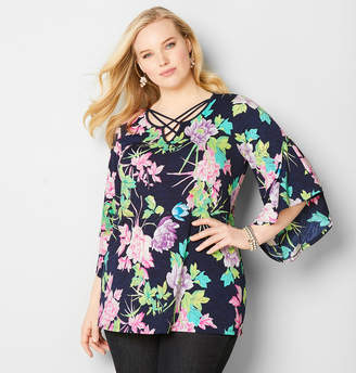 Avenue Floral Cage Bell Sleeve Top