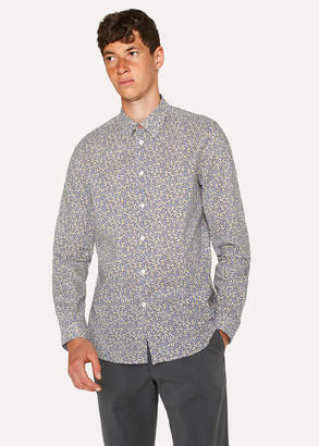 Paul Smith Men's Tailored-Fit Navy 'Fig Leaf' Print Shirt