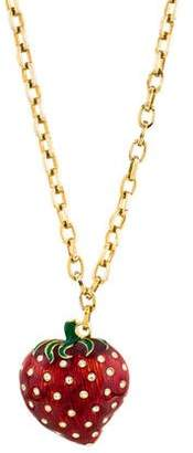 Valentino Crystal Strawberry Pendant Necklace