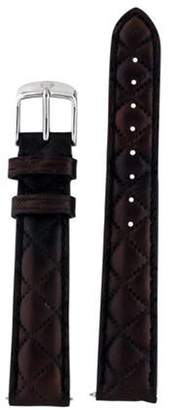 Michele 16mm Quilted Leather Watch Strap Brown 16mm Quilted Leather Watch Strap