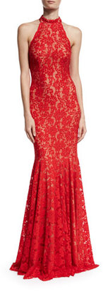 Jovani Sleeveless Beaded Lace Mermaid Gown, Red $560 thestylecure.com