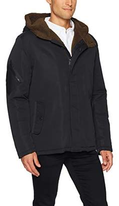 Kenneth Cole New York Men's Hooded Faux Sherpa Lined Jacket