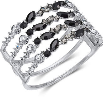 INC International Concepts I.n.c. Silver-Tone Black Crystal Cuff Bracelet