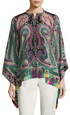 EtroEtro Paisley-Print Silk Poncho Blouse