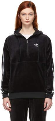 adidas Black Velour Cozy Half-Zip Hoodie