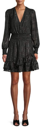 MICHAEL Michael Kors Shiny Plaid Long-Sleeve Ruffled Dress