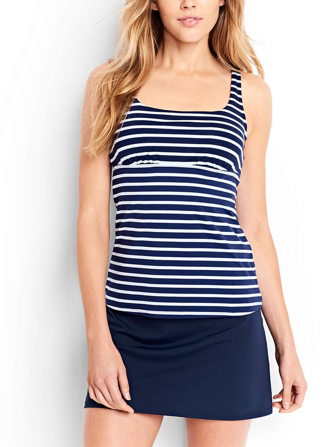 Deep Sea & White Media Stripe Underwire Tankini Top - Women