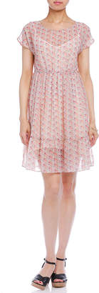 Comptoir des Cotonniers フラワープリント シフォン 半袖ドレス インナー付 ピンク 36