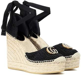 Gucci Crochet wedge espadrilles
