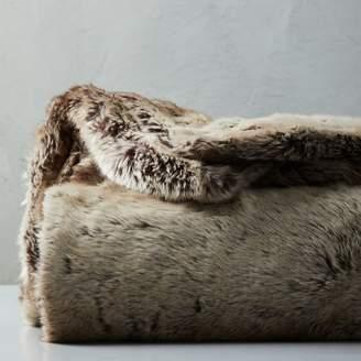 west elm Faux Fur Ombre Throw - Mocha