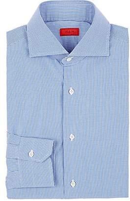 Isaia Men's Micro-Checked Cotton Shirt - Lt. Blue