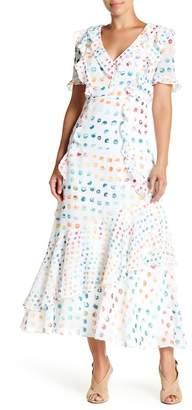 Monique Lhuillier Ruffle Short Sleeve Polka Dot Dress