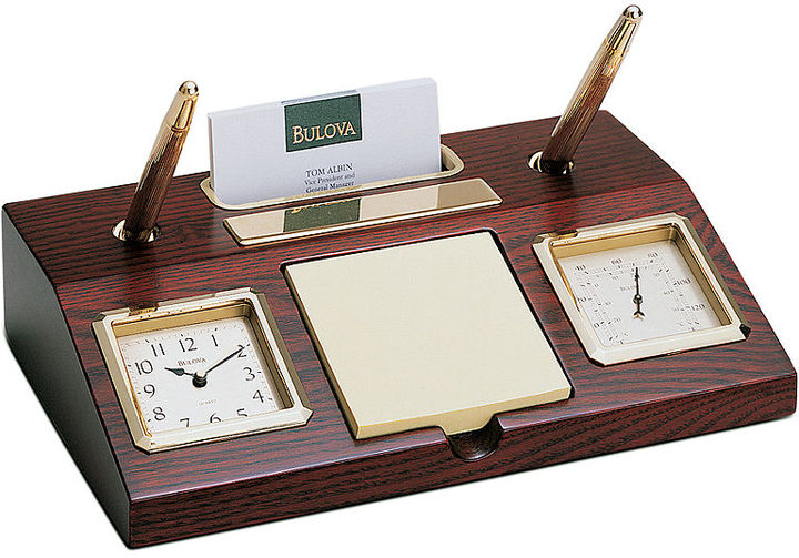 Bulova Clock, Wooden Executive Desk B7250
