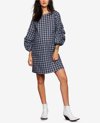 A Pea in the Pod Maternity Plaid Bell-Sleeve Dress