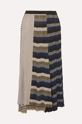 Sonia Rykiel Metallic Striped Ribbed-knit Skirt - Gold