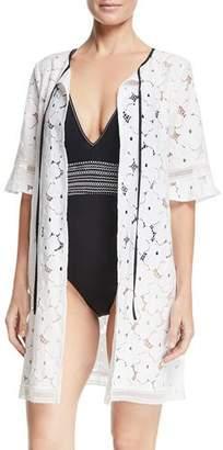 Kisuii Mila Floral-Lace Tie-Neck Swim Coverup