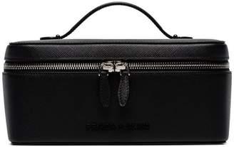 Prada black logo lettering leather beauty case