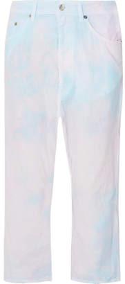 MM6 MAISON MARGIELA Tie-dyed Cropped Cotton-poplin Pants - Pink