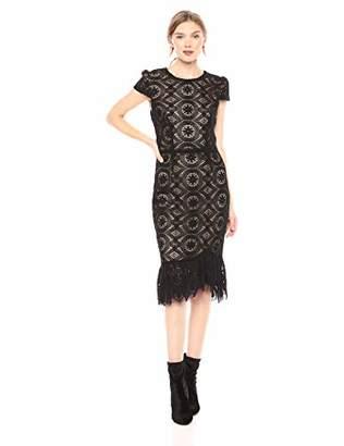 Betsey Johnson Women's Lace Midi Dress with Ruffled Hem