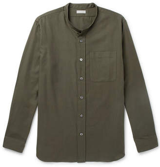 Margaret Howell Grandad-Collar Cotton And Cashmere-Blend Shirt
