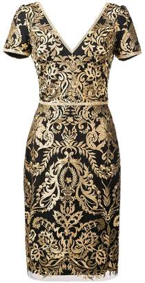 Marchesa baroque print mini dress