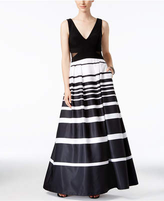 Xscape Evenings Illusion-Inset Striped Ball Gown