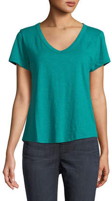 Eileen Fisher Short-Sleeve Organic Cotton V-Neck Shirttail Tee, Plus Size