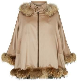 Holland Cooper Fur-Trimmed Cashmere Cape