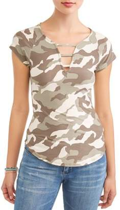 Eye Candy Juniors' Printed Peached Lattice V-Neck Short Sleeve T-Shirt
