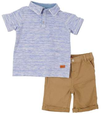7 For All Mankind Kids Boys 2T-4T Short Set Heather Blue